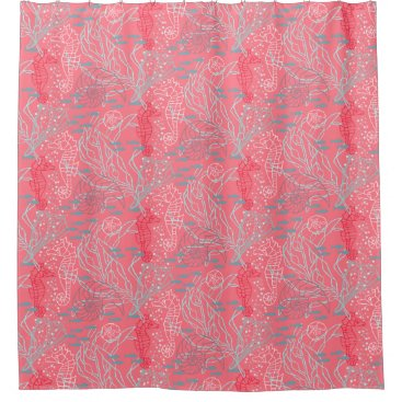 lauriekentdesigns Pinky Seahorse & Seashell Pattern Design Shower Curtain