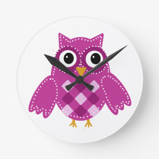 Wise Tattoo Style Owl Digital Teal Wood Base Round Clock From