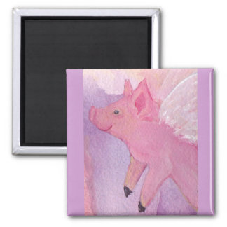 Pinky the Flying Pig Square Magnet