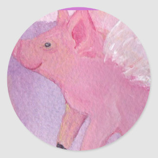 Pinky the Flying Pig - When Pigs Fly Classic Round Sticker