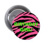 ¡pinkzebra, chica del cumpleaños! pin