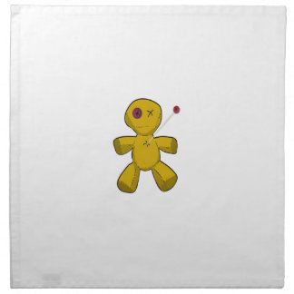 Pinned Brown Cartoon Voodoo Doll Missing One Eye Cloth Napkin