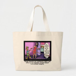 Pinnochio The Ladies Man Funny Cartoon Gifts Tees Large Tote Bag