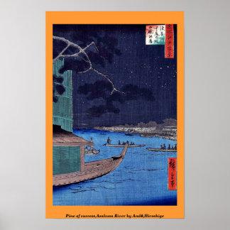 Pino del éxito, río de Asakusa por Andō, Hiroshige Póster