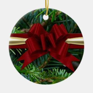 Pino oro arco rojo ornamento para arbol de navidad