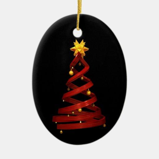 Pino rojo del diseño y bolas de oro ornamentos de navidad