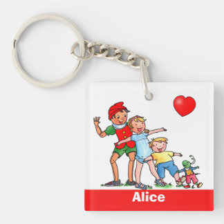 Pinocchio and Friends Love Heart - Keychain