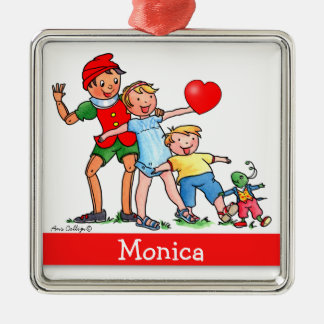 Pinocchio and Friends with Heart -Square Ornament