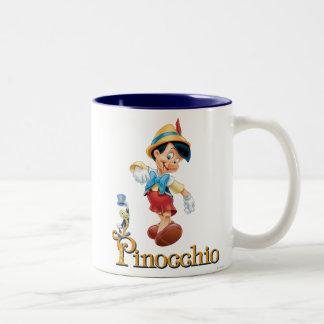 Pinocchio con el grillo 2 de Jiminy Taza De Café De Dos Colores