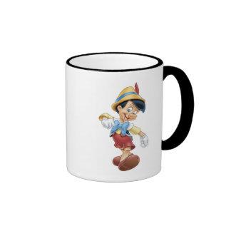 Pinocchio Disney feliz que camina Taza De Dos Colores