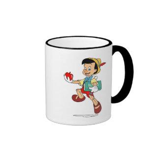 Pinocchio Pinocchio que camina a la escuela Disney Taza De Dos Colores