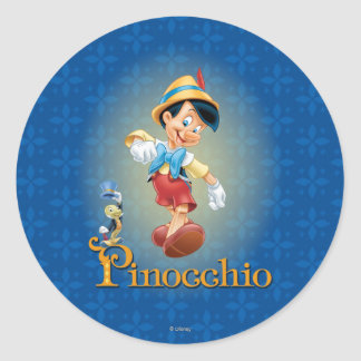 Pinocchio with Jiminy Cricket 2 Classic Round Sticker