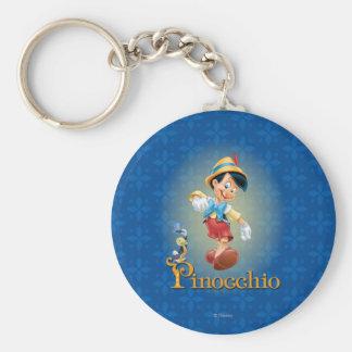 Pinocchio with Jiminy Cricket 2 Basic Round Button Keychain