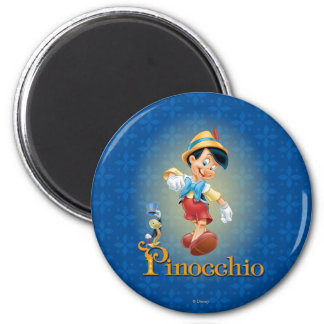 Pinocchio with Jiminy Cricket 2 2 Inch Round Magnet