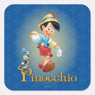 Pinocchio with Jiminy Cricket 2 Square Sticker