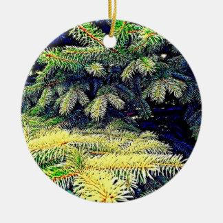 Pinos abstractos adorno navideño redondo de cerámica