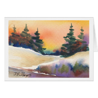 Pinos de oro de la puesta del sol tarjeta de felicitación