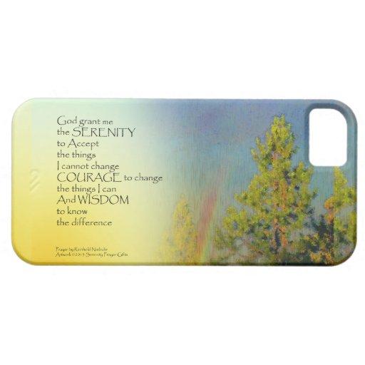 Pinos del arco iris del rezo de la serenidad iPhone 5 Case-Mate fundas
