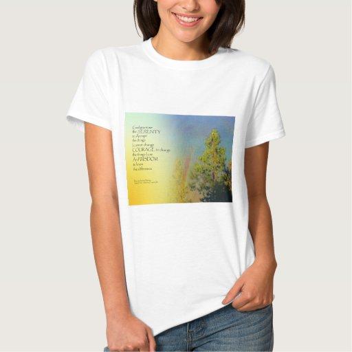 Pinos del arco iris del rezo de la serenidad t shirts