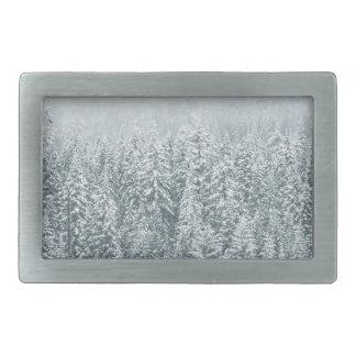 Pinos del invierno hebillas de cinturon rectangulares
