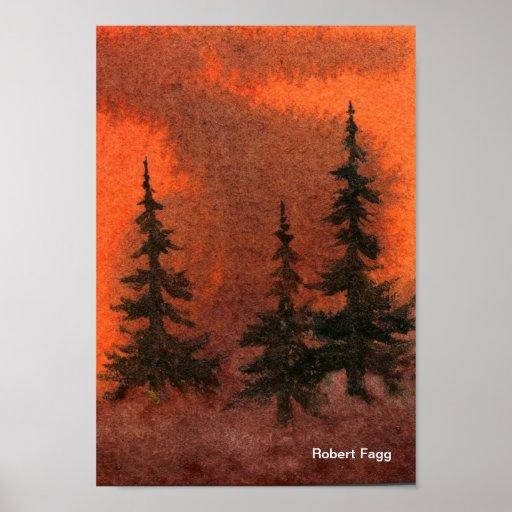 Pinos en la impresión del arte de la niebla póster