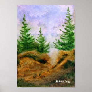 Pinos en la impresión del arte de las rocas impresiones