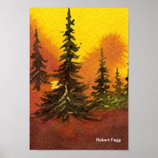 Pinos en la impresión del arte de Ridge #2 Póster