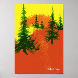 Pinos en una impresión del arte de la colina 2 poster