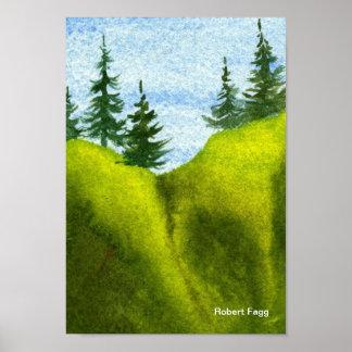 Pinos en una impresión del arte de la colina 2 impresiones