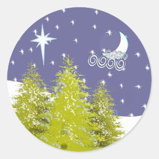 Pinos luna y estrellas de las Felices Navidad Pegatina Redonda