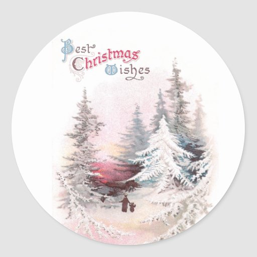 Pinos Nevado y navidad rosado del vintage de la Etiqueta Redonda