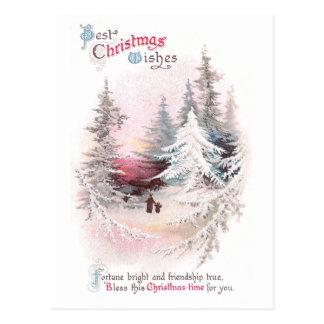 Pinos Nevado y navidad rosado del vintage de la pu Tarjeta Postal
