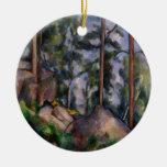 Pinos y rocas (pernos y Rochers) Paul Cézanne Adorno Navideño Redondo De Cerámica