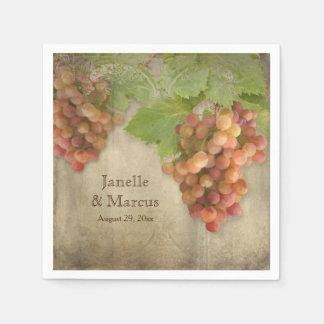 Pinot Grigio Vintage Winery Weathered Wood Wedding Napkin