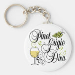 Pinot Grigio Wine Diva Basic Round Button Keychain
