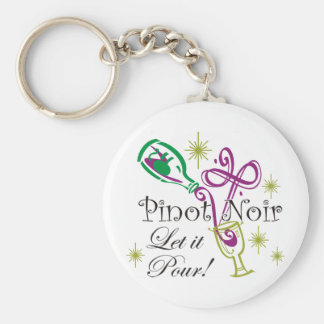 Pinot Noir, Let it Pour! Basic Round Button Keychain