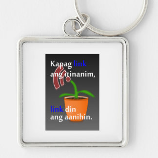 Pinoy funny blogger quotes: Link Building Silver-Colored Square Keychain