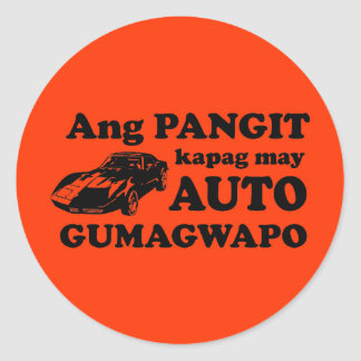 Pinoy Humor: Ang Auto at ang Gwapo Classic Round Sticker