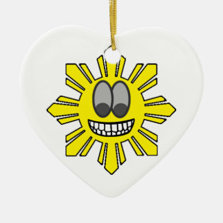 Pinoy Smiling Sun plus Star Ceramic Ornament