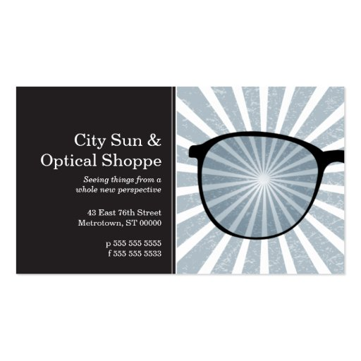 Pinpoint Grungy Rays Glasses Business Card Templates