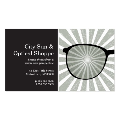 Pinpoint Grungy Rays Glasses Business Card Template
