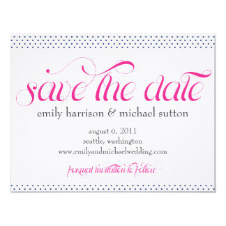 Pinpoint Polka Dots Save the Date 4.25x5.5 Paper Invitation Card