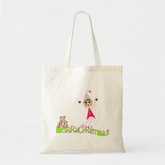 Pinqshue Elf Merry Christmas Tote Canvas Bags