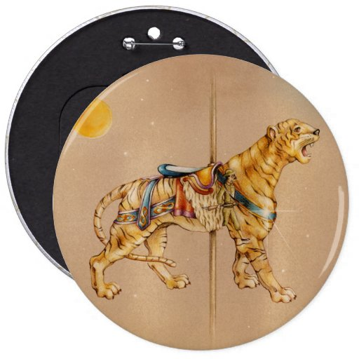 Pins, Buttons - Carousel Tiger