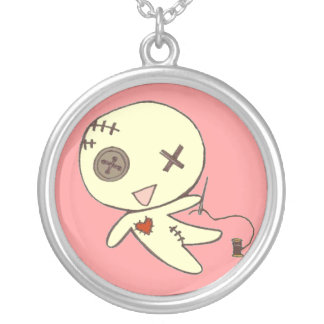 Pin's pink voodoo doll pendant necklace