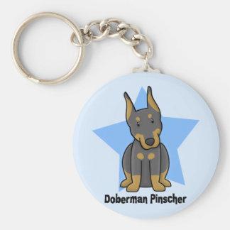 Pinscher del Doberman de la estrella de Kawaii Llavero Redondo Tipo Pin