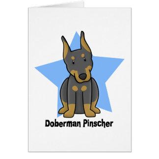 Pinscher del Doberman de la estrella de Kawaii Tarjeta