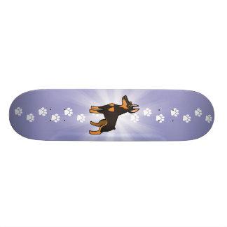 Pinscher del Doberman del dibujo animado (oídos Skate Boards