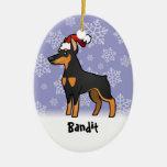 Pinscher del Doberman del navidad (oídos Ornamento Para Reyes Magos