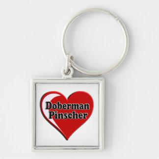 Pinscher del Doberman en el corazón para los amant Llavero Cuadrado Plateado